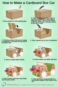 "to build a cardboard car.Perfect for our ""Drive-In Movie"" Night!How to build a cardboard car.Perfect for our ""Drive-In Movie"" Night! Projects For Kids, Diy For Kids, Crafts For Kids, Car Crafts, Children Crafts, Movie Crafts, Kids Fun, Craft Activities, Diy Home"