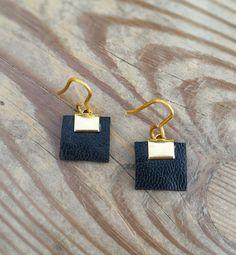 drop earrings, gold dangle earrings, short earrings, black leather earrings, charm earrings, hypoallergenic earrings, lightweight earrings by danielapalatnik on Etsy
