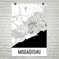 Mogadishu Somalia Map, Art, Print, Poster, Wall Art From $29.99 - ModernMapArt