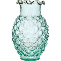 Vintage Green Glass Vase (ruffled pineapple design).  3.5 inch diameter x 6 inches high. Our assortment of vintage glass just wouldn't be complete without this historic color. Our vintage green is inspired by the beloved 'coke bottle' green. Perfect for weddings! Also see our matching mercury glass.