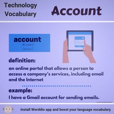 Daily English tips with Worddio. Share with your friends and help them to learn more than 30 languages! Download Worddio app and boost your vocabulary!  Technology Vocabulary, English Tips, New Words, Definitions, Languages, Something To Do, App, Learning, Friends