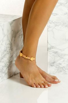 This is a chunky handmade leather anklet with 24k gold plated embellishments which means they don't tarnish with the sun. It comes in two colors, black & natural tan. It perfectly matches with slip-on sandals, wear it with cropped hemlines all summer long. Greek Chic Handmades jewelry are designed and handcrafted in Athens, Greece from the best quality leather and nickel free hardware. Gold Anklet, Beaded Anklets, Anklet Bracelet, Bracelets, Hanging Beads, Ankle Chain, Bohemian Jewelry, Boho
