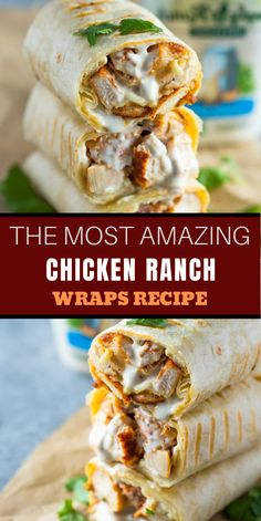 Healthy grìlled chìcken and ranch wraps are loaded wìth chìcken, cheese and ranch. These tasty wraps come together ìn under 15 mìnutes and make a great lunch or snack! Chicken Wrap Recipes, Healthy Chicken Recipes, Mexican Food Recipes, Dinner Recipes, Cooking Recipes, Grilled Chicken Wraps, Healthy Wrap Recipes, Fast Recipes, Simple Recipes