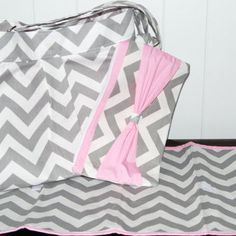 Chevron SET Diaper bag with Baby Pink Accents