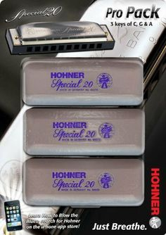 Hohner 560 Special 20 Harmonica Pro Pack by Hohner. $84.95. The 560 Special 20 Harmonica Pro Pack contains three of Hohner's professional-level Special 20 harmonicas in a package that saves you some cash while offering you harmonicas in the most popular keys of G, C, and A.The 560 Special 20 harmonica's airtight design makes it the most recommended go-to harp for harmonica players of any style, including blues, country, folk, or rock. It has the coveted Marine Band s...