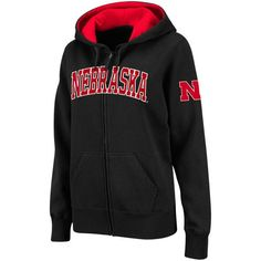 Nebraska Cornhuskers Stadium Athletic Women's Arched Name Full-Zip Hoodie - Black - $39.99
