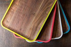 neon rimmed walnut trays & platters by david rasmussen.