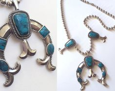 70s faux turquoise squash blossom naja necklace