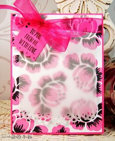 Floral card with pretty vellum overlay! Created with Papertrey Ink Rosie Posie and Mini Blooms clear stamp sets and dies! Secretbees Studio: Softened Cards!