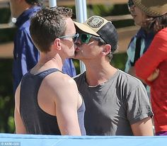 Still in the honeymoon phase: Neil Patrick Harris and his husband David Burtka shared a kiss