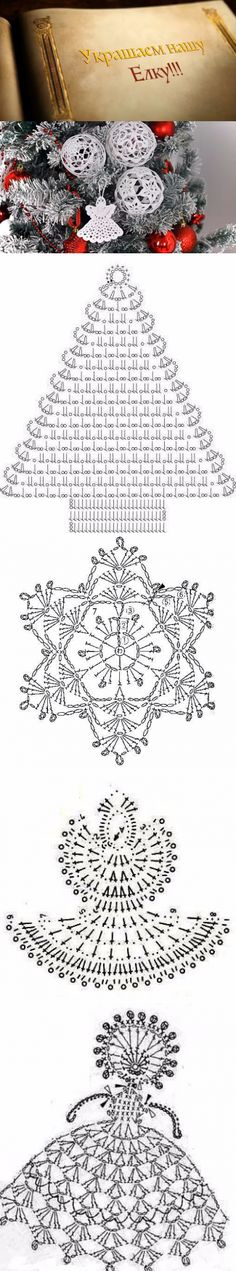 [Knitting] of the Scheme of snowflakes, angels and fir-trees + mk Vintage Crochet, Crochet Lace, New Year's Crafts, Fir Tree, Snowflakes, Knitting, Simple, Trees, Christmas