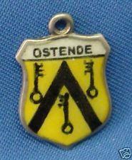 Vintage 835 Silver & Enamel Travel Souvenir Shield Charm OSTENDE (Belgium)