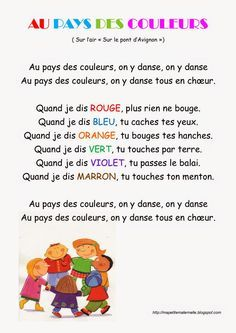 Ma petite maternelle: Comptine - Au pays des couleurs - learning colors in French