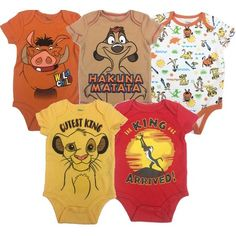 Disney Baby Unisex 5 Pack Bodysuits - Mickey Mouse, Lion King & Pixar : Soft interlock knit fabric, cotton, polyester Adorable Disney 5 pack creeper set Lap shouders for easy dressing 3 snap closure for easy diaper changes . Lion King Nursery, Lion King Baby Shower, Disney Babys, Le Roi Lion, Baby Boys, Carters Baby, Disney Lion King, Cute Baby Clothes, Disney Baby Clothes Boy
