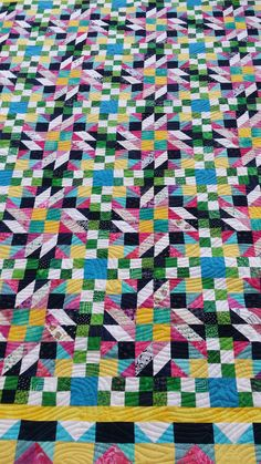 My first Bonnie Hunter Mystery Quilt (2014) - Grand Illusion. Great way to get focused and quilting. What a quilt rush.....  Quilted by Cathy Kirk, Quilting Cowgirl