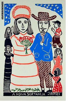 José Francisco Borges (Brazil), Woodcut print (color) on paper x 12 image on x sheet), Exact colors and design may vary. Arte Popular, Popular Art, Naive Art, Outsider Art, Heart Art, Gravure, Artist At Work, Art Forms, Graphic Illustration