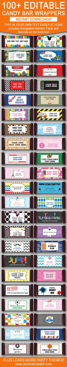 DIY Printable Candy Bar Wrapper Templates | Birthday Party Favors | 1.55oz Hershey Candy Bars | Personalized Candy Bar Wrappers | Chocolate Bar Labels | INSTANT DOWNLOAD $3.00 via simonemadeit.com