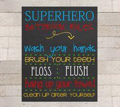SUPERHERO Bathroom RULES Wall Art PRINTABLE by myhappylifedesigns, $10.00