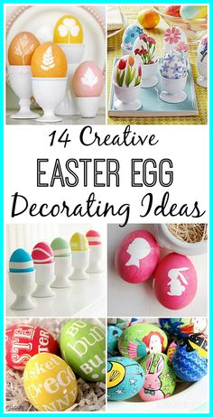 14 Easter Egg Decorating Ideas! Still just dipping your eggs in some dye? Try something a  little different this year with your Easter egg decorating. Easter decorating ideas| Easter baskets| kid's Easter crafts