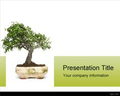 Download free Tree PPT template with Bonsai PowerPoint Template design in the background