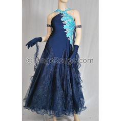 Navy Blue Halter Style Ballroom Smooth Dress - M