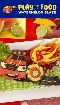 Planning a kids race car birthday party or looking to make a playful, healthy after-school snack? Carve Blaze from Blaze and the Monster Machines out of fruit and veggies! This wonderful watermelon arrangement does double duty: It fuels kids' bellies and serves as the perfect centerpiece for a Blaze and the Monster Machines birthday party! Mango, watermelon, cucumber, pepper = yummy!