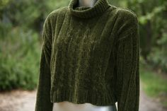 olive chenille cropped sweater.