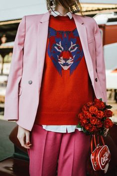 How to wear red and pink together, topshop dusty pink blazer, hot pink tailored peg trousers, red cashmere sweater, heeled red sock boots, white button down shirt, statement silver earrings with sequins, andreea birsan, couturezilla, cute winter and fall outfit ideas 2017, red and pink outfit, how to play with color, roses, ciao bella red vinyl mini bag, heart shaped fur charm, mixing different shades of pink, train station photo shoot, fuchsia pants, what to wear in winter, the best winter