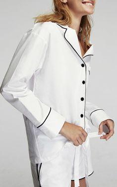 Paper White Pajama Set with Shorts by Sleeper   Moda Operandi