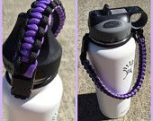 Paracord handle for hydro flask bottle adjustable purple dragonfly