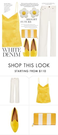 """""""White Denim: Summer Denim"""" by aislinnhamilton1993 ❤ liked on Polyvore featuring Simon Miller, Topshop Unique, Le Monde Beryl, Balenciaga, Summer, yellow and whitejeans"""