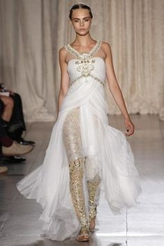 Marchesa SS13 show, Inspired by India.   Dreamlike creations, love these jewelled leggings.