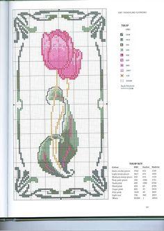 Schematic cross stitch Flower Tulip