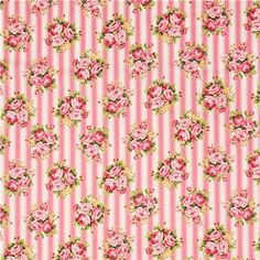pink cream stripe flower fabric cotton printed twill from Japan 2