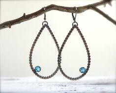Swiss blue topaz earrings. Sterling silver large por ForestBook