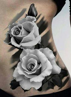 White rose tattoo side ribs