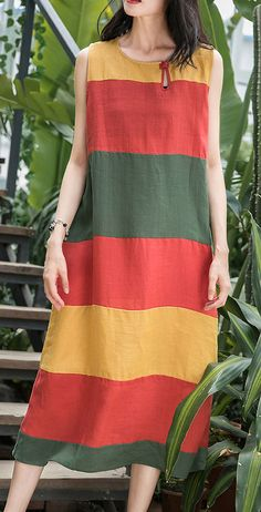 Art o neck Sleeveless linen clothes For Women Inspiration red striped Dress summ. - - Art o neck Sleeveless linen clothes For Women Inspiration red striped Dress summer Source by miaronis Linen Dresses, Cotton Dresses, Women's Dresses, Fashion Dresses, Pageant Dresses, Simple Dresses, Casual Dresses, Casual Outfits, New Trendy Dresses