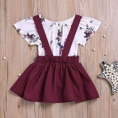 Short Sleeves Floral Bodysuit Overall Skirt Headband in Wine Red/Yellow - Baby Girl Dress - Ideas of Baby Girl Dress - Short Sleeves Floral Bodysuit Overall Skirt Headband in Wine TYChome Baby Girl Dresses, Baby Outfits, Toddler Outfits, Kids Outfits, Dress Outfits, Winter Outfits, Summer Outfits, Baby Girl Fashion, Toddler Fashion