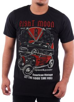 Eight Moon T-shirt Vintage Hot Rod Rockabilly Custom Classic Cars Ford Mustang Rat Rod