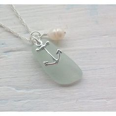 seaglass necklace with anchor charm and pearl