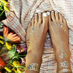 ISABELLA - Floral & Gold Metallic Temporary Tattoos - Flash Tattoos. I particularly like the small one on the right ankle!