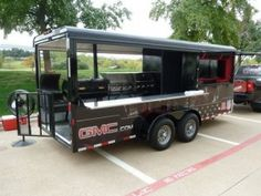 NFL BBQ Trailer - trailer with 2 grills, 1 smoker, 2 flat screens, and 2 X-Boxes-SR Bbq Smoker Trailer, Bbq Pit Smoker, Barbecue Pit, Bbq Grill, Custom Bbq Smokers, Custom Bbq Pits, Food Vans, Food Trailer, Catering Trailer