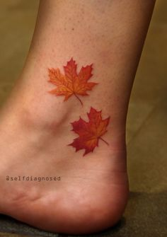 Maple Leaf Tattoos Express What Truly Lies In Your Heart Sumcoco Mini Tattoos, Love Tattoos, Tattoo You, Beautiful Tattoos, Body Art Tattoos, New Tattoos, Small Tattoos, Ankle Tattoos, Fall Leaves Tattoo