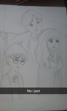 Harry, Hermione, Ron first year sketch