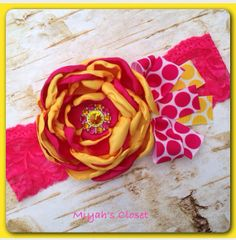 Lemonade Stand Headband Pink Yellow Headband by MiyahsCloset, $13.99