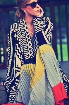 tribal top, color block skirt