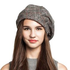 FS Winter Plaid Wool Octagonal Beret See other ideas and pictures from the category menu…. Top Hats For Women, French Beret Hat, Fedora Hat Women, Women Hat, Golf Fashion, 50 Fashion, Fashion Black, French Fashion, Fashion Styles