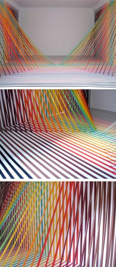 Over the rainbow masking tapes -  I've said it before, and I'll say it again… I need multi-colored masking tape RIGHT NOW!    I thought I'd leave you for the weekend with this incredibly meticulous, slightly sticky, and most importantly… insanely rainbowie installation by Austin based artist Rebecca Ward. OK, I know 'rainbowie' isn't a word, but in this particular case, I think it applies!