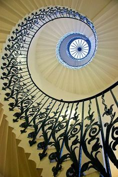 The Tulip Staircase in the Queen's House, Greenwich, England.