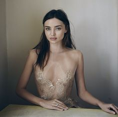 Miranda Kerr in barely-there foil lace.